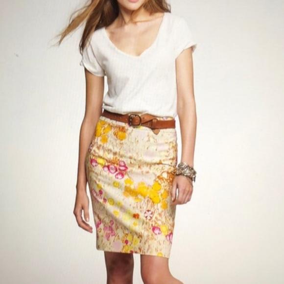 JCREW Sunshine Peony Pencil Skirt size 6